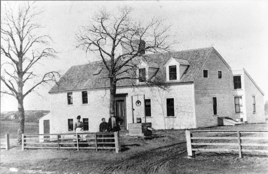 Photograph of the Hart House taken in March,1886 by Edward Darling, from the collection of William J.Barton. Mr. Barton identified the three people in the photo,