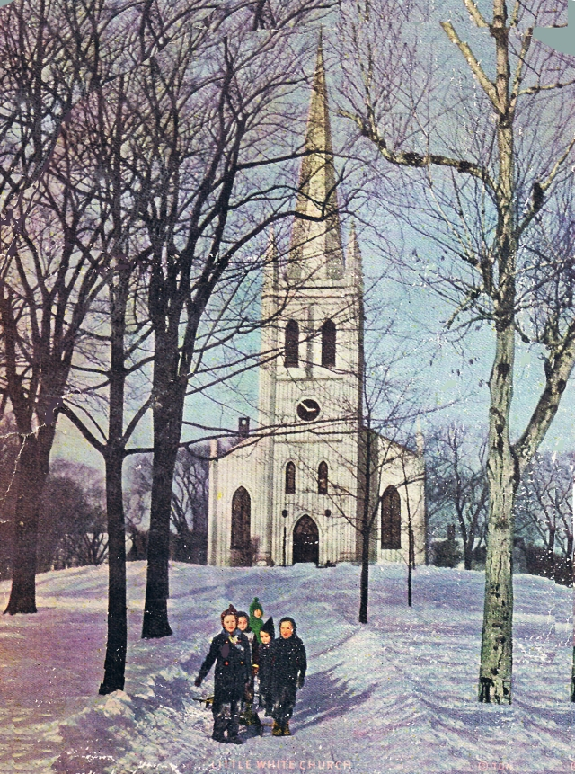 Children in the snow in front of the former Congregational Church in Ipswich