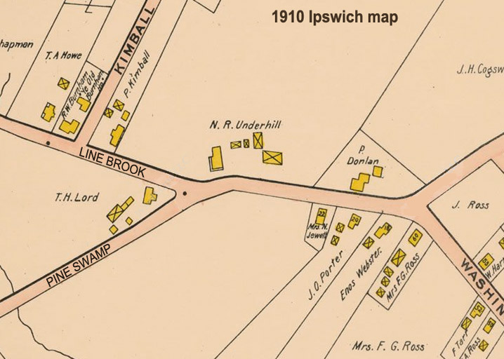 Map of Pineswamp and Linebrook Rd., Ipswich, in 1910