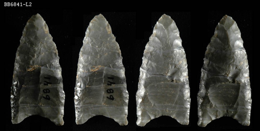 Bull Brook spear points on display at the Peabody Essex Museum in Salem MA