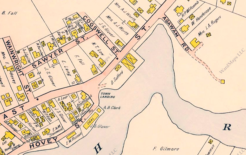 Closeup of the 1910 map shows the Safford barns at the site of the present town landing,. The cove along East Street had not yet been filled in. that the present town landing