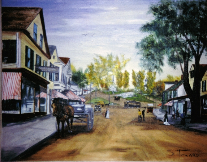 Market Street with Town HIll in the distance. Painting by the late Susan Howard Boice