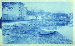 Boat on the River at Water Street cyanotype by Arthur Wesley Dow