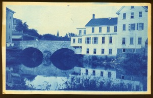 Choate Bridge and steeple cyanotype by Arthur Wesley Dow