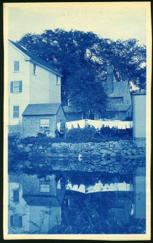 Laundry and reflection cyanotype by Arthur Wesley Dow