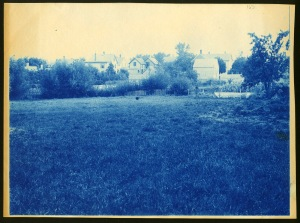 Field and houses cyanotype by Arthur Wesley Dow