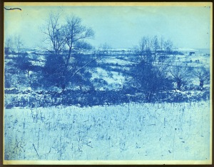 snowy field cyanotype by Arthur Wesley Dow