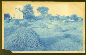 house with hay stacks cyanotype by Arthur Wesley Dow