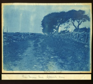 Road with stone walls cyanotype by Arthur Wesley Dow