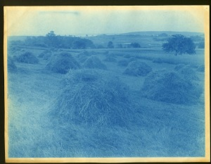 Hay stacks cyanotype by Arthur Wesley Dow