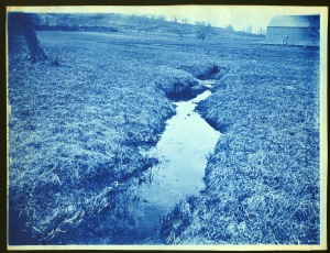 Creek and barn cyanotype by Arthur Wesley Dow