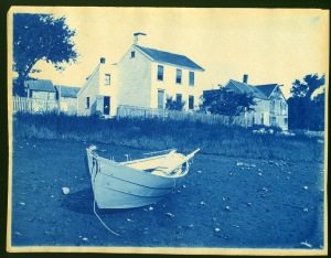 Water Street house and boat cyanotype by Arthur Wesley Dow