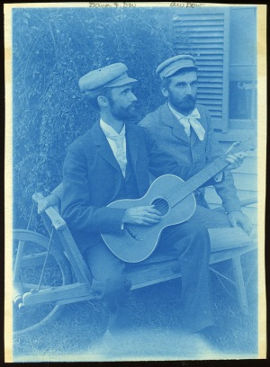 Dow and Hubbard with guitar cyanotype by Arthur Wesley Dow