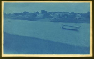 Boat in the river cyanotype by Arthur Wesley Dow
