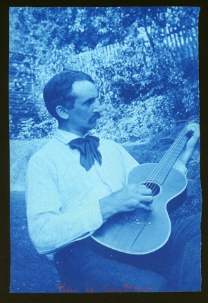 Dow with guitar cyanotype by Arthur Wesley Dow