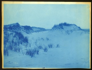 Dunes and snow cyanotype by Arthur Wesley Dow