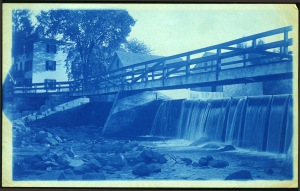 The old foot bridge over the Ipswich River cyanotype by Arthur Wesley Dow