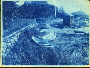 Dories and wharf cyanotype by Arthur Wesley Dow