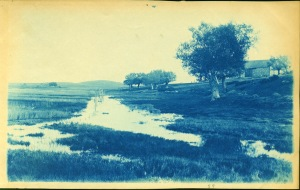 Wetland and barn cyanotype by Arthur Wesley Dow