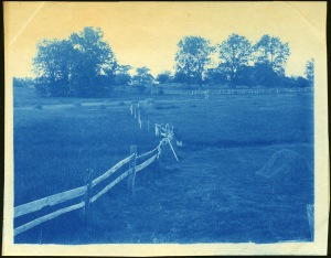 Board fence and field cyanotype by Arthur Wesley Dow