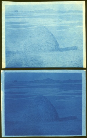 Hay and hill cyanotype by Arthur Wesley Dow