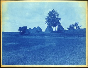 Large hay stacks cyanotype by Arthur Wesley Dow