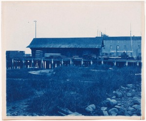 Newburyport wharf pilings cyanotype by Arthur Wesley Dow