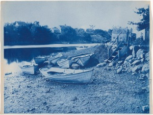 Dories at the wharf cyanotype by Arthur Wesley Dow