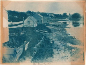 Water Street clam houses cyanotype by Arthur Wesley Dow