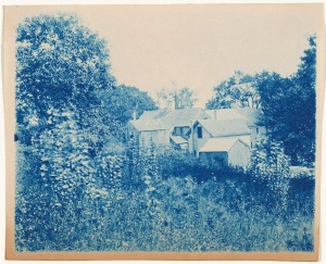 Cluster of buildings cyanotype by Arthur Wesley Dow