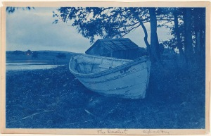 Dory and shack cyanotype by Arthur Wesley Dow