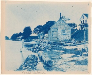 Grape Island buildings cyanotype by Arthur Wesley Dow
