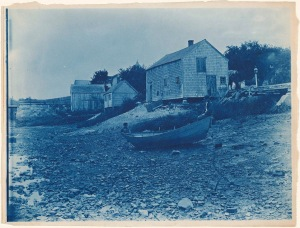 Clam shacks on the Ipswich River cyanotype by Arthur Wesley Dow