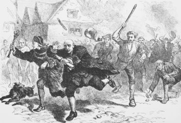 An angry Boston mob attacks Lieutenant Governor Andrew Oliver for being a Loyalist.