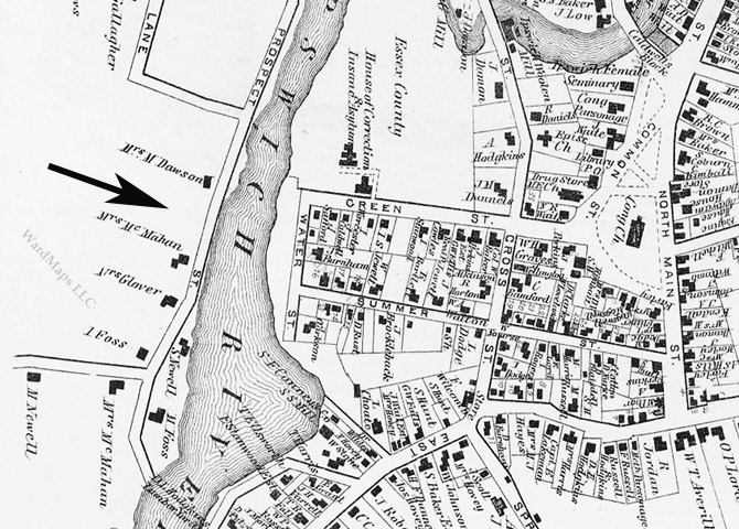 Closeup from the 1872 Ipswich village map, indicates that the house at 49 Turkey Shore Rd. had not yet been built.