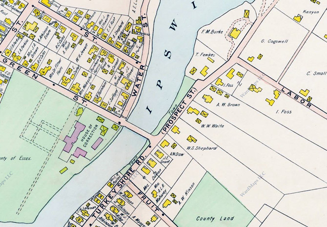 Closeup from the 1910 Ipswich village map.