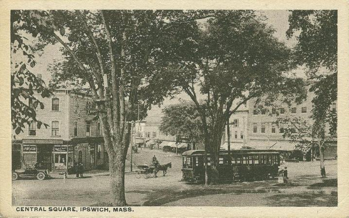 This postcard from 1910 shows the trolley that crossed the Choate Bridge from Essex to Ipswich