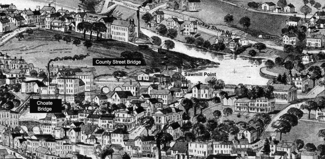Closeup from the 1884 Birdseye Map of Ipswich, The County St and Choate bridges are indicated for reference.