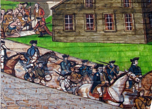 soldiers crossing the Choate Bridge led by Col. Benedict Arnold on their way to attack Montreal