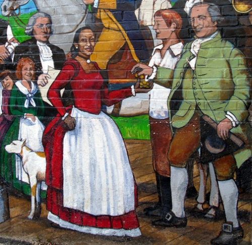 Ipswich Riverwalk Mural painted by Alan Pearsall portrays Jenny Slew receiving compensation from John Whipple.