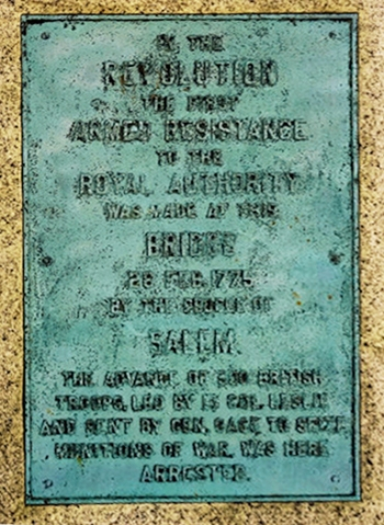 Plaque commemorating Leslie's retreat in Salem