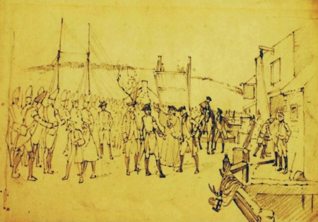 An early sketch of the encounter. Sketch of the Old North Bridge being raised to prevent the British troops from entering Salem