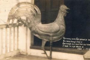 The brass rooster atop the First Church steeple in Ipswich MA