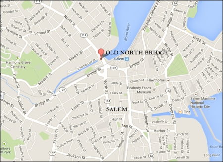Location of the Old North Bridge in Salem