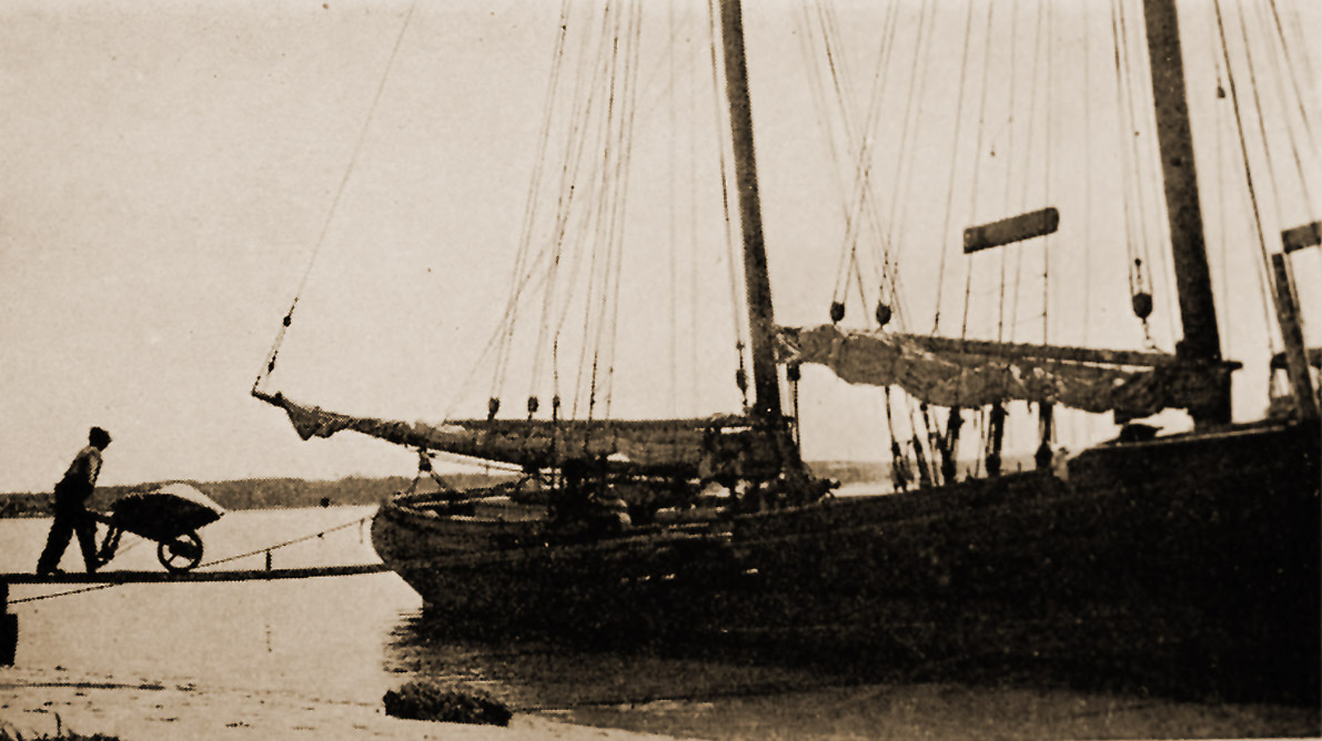 Sand being hauled to a schooner at Crane Beach. Photo by Townsend, Charles Wendell, 1859