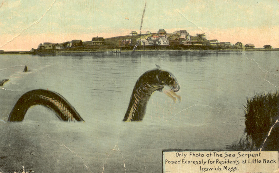 Hoax photo by George Dexter of the Little Neck Sea Serpent