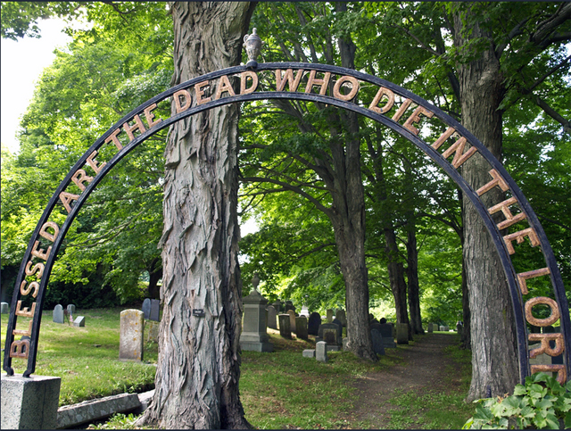 Gate to the cemetery at the South Green