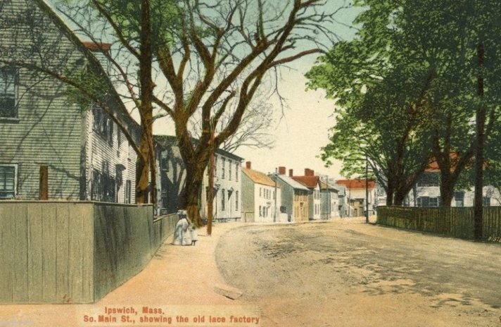 A view of South Main Street in the late 19th Century. Dr. Manning's house is on the right, and Timothy Souther's house is too small to see, a couple of houses closer to town.