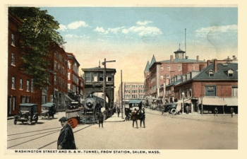 Washington Street and B  M Tunnel from Station Salem, MA