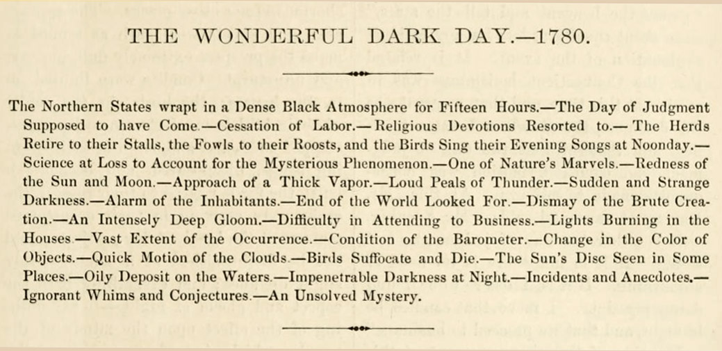 The Wonderful Dark Day - 1780